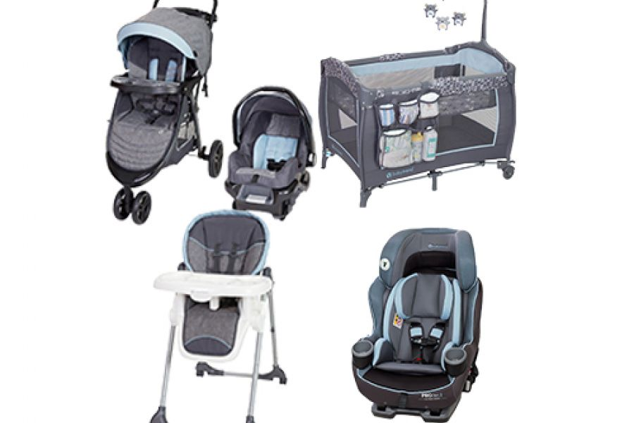 Baby Trend - PROtect Car Seat Series Premiere Plus Convertible Car Seat Starlight Blue + Skyline 35 Travel System Starlight Blue + Trend-E Nursery Center Starlight Blue + Dine Time 3-in-1 High Chair Starlight Blue