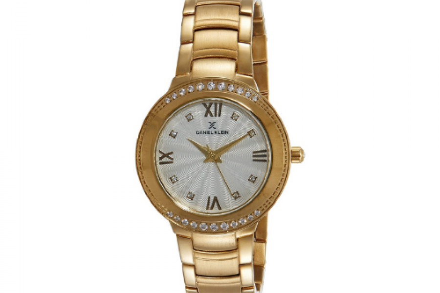 Daniel Klein - Analog Silver Dial Gold Plated Women's Watch