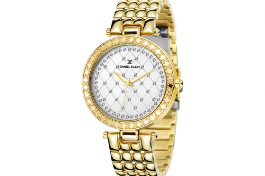 Daniel Klein - Gold Plated Analog Silver Dial Women's Watch