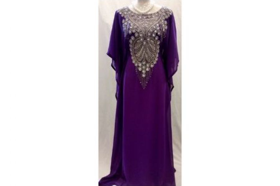 Laila Fashion - Abaya Dress with Embroidered Design Purple