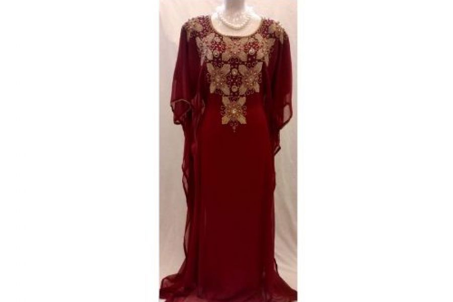 Laila Fashion - Abaya Dress with Embroidered Design Maroon