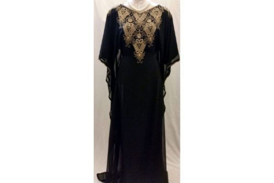Laila Fashion - Abaya Dress with Embroidered Design Black