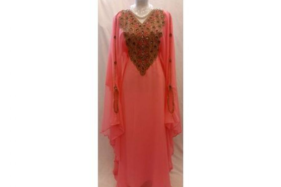 Laila Fashion - Abaya Dress with Embroidered Design Orange