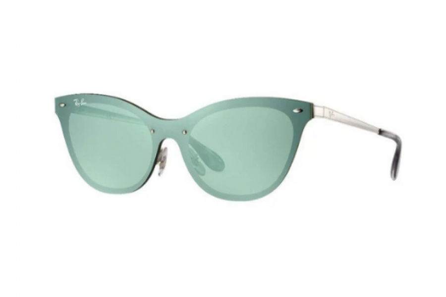 Ray-Ban - Blaze Cat Eye Silver Metal Frame Green Silver Lens Sunglasses