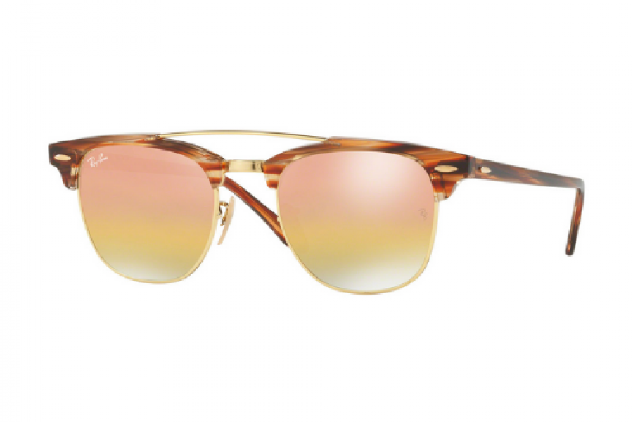 Ray-Ban - Clubmaster Double Bridge Sunglasses Light Brown Green Gold Mirror