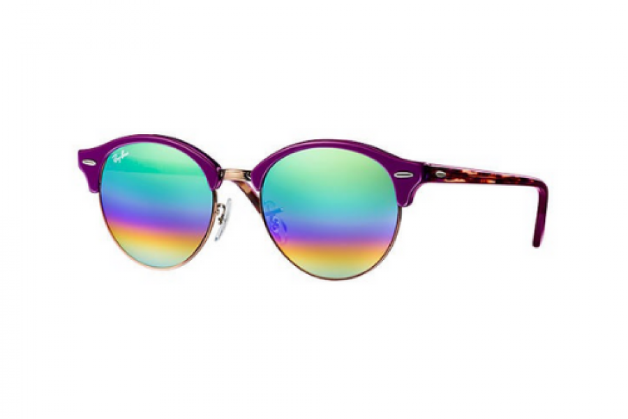 Ray-Ban - Clubround Purple Frame Mineral Green Rainbow Flash Sunglasses