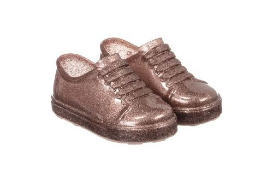 Mini Melissa - Glittery Rose Pink Slip-On Trainers Shoes