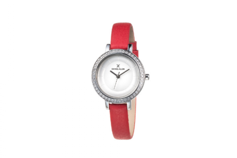 Daniel Klein - Watch Plain Red Leather Strap For Women