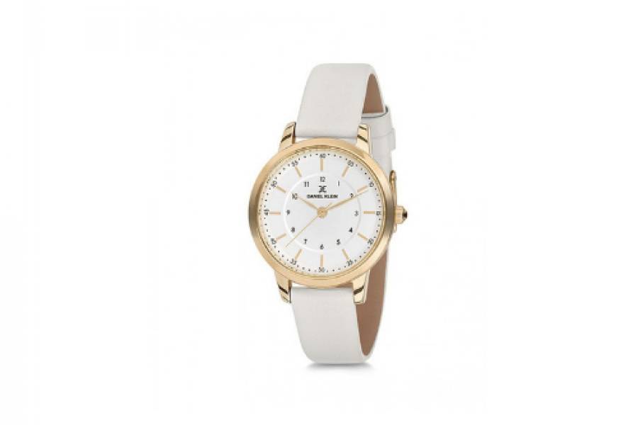Daniel Klein Watch, White, Leather Strap with Tang Closure for Women