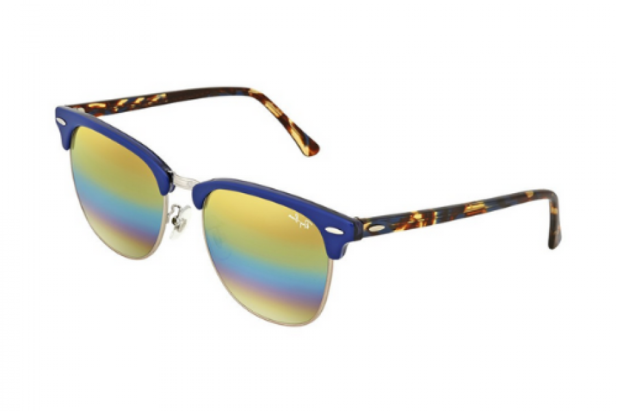 Ray-Ban - Clubmaster Blue Frame Mineral Flash Lens Sunglasses