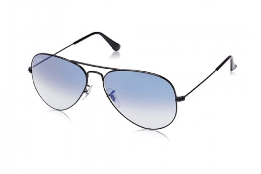 Ray-Ban - Polarized Aviator Black Sunglasses Unisex Blue Gradient Lens