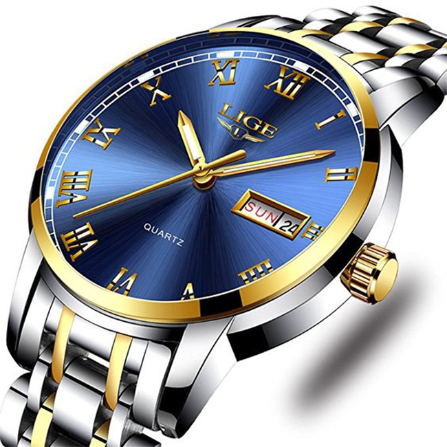 434cbd5b9 رجل ساعة كاملة الفولاذ المقاوم للصدأ مضيئة الكوارتز ووتش أزياء الأعمال  عارضة اللباس ساعة اليد ماء 30M المياه